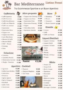 Listino Prezzi Bar Mediterraneo